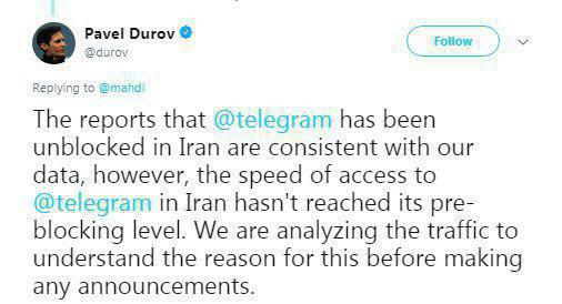 واکنش دوروف به سرعت دسترسی به تلگرام در ایران