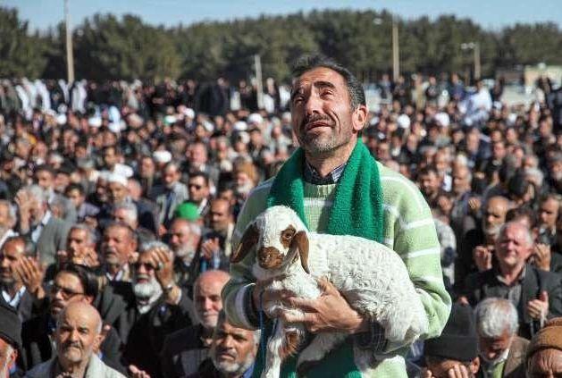 حاشیه های عکس عجیب مردی که با بره اش به نماز باران آمد + عکس
