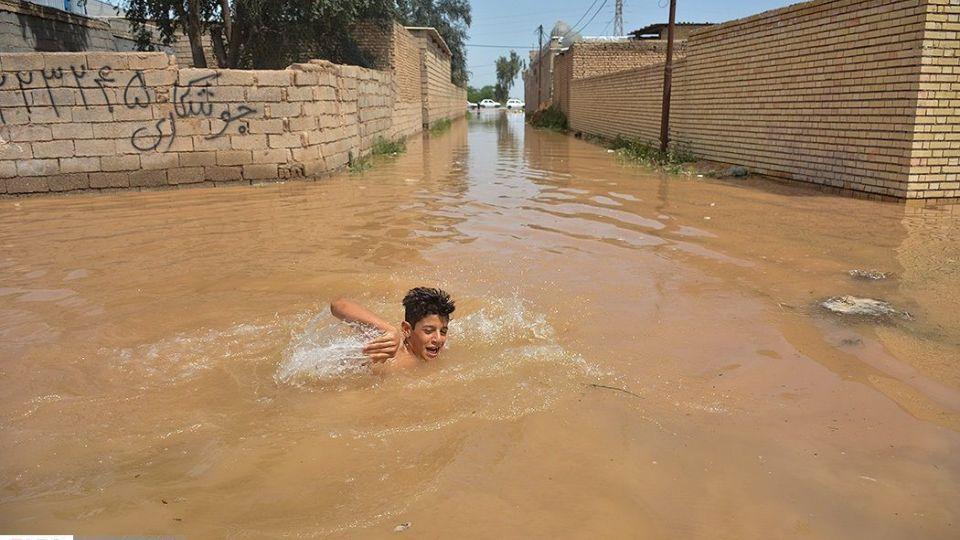 سيل در روستاي «سيد عباس» شوش