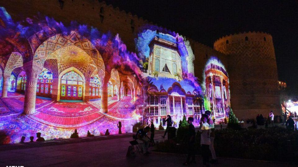 اجرای نورپردازی سه بعدی زیبا در ارگ کریمخان شیراز