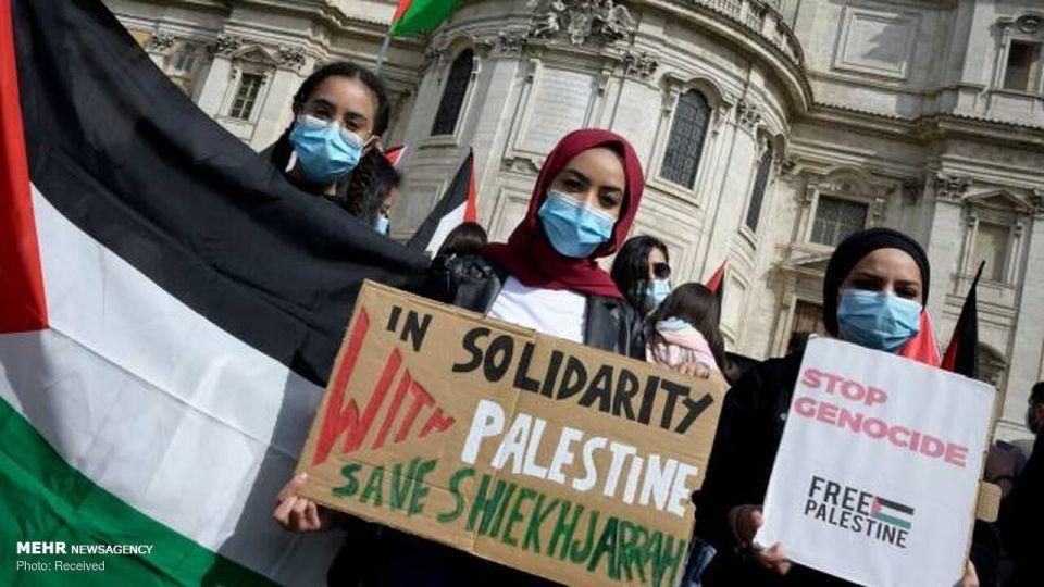 راهپیمایی دفاع از فلسطین در ایتالیا